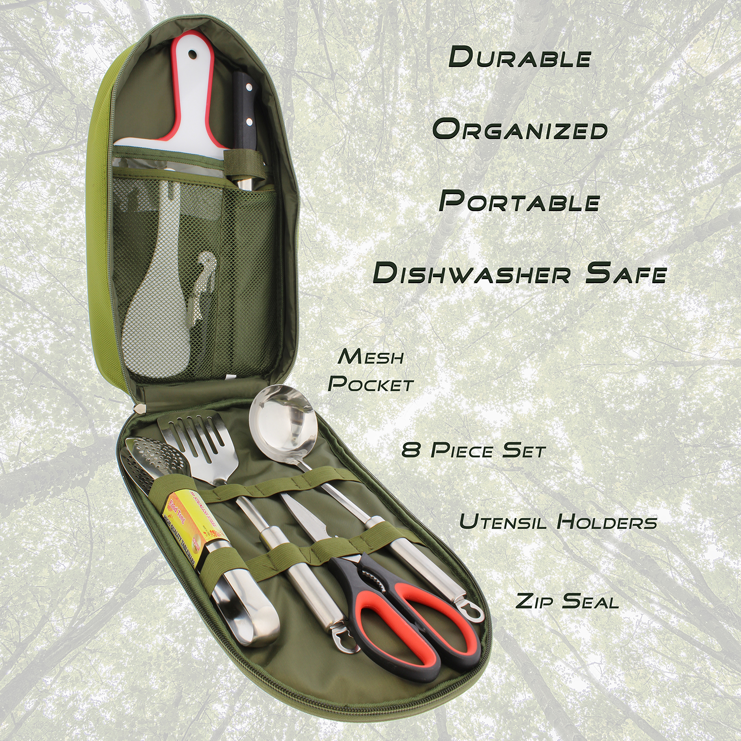 Camping-Utensil-Outdoor-Cooking-Accessories-8pc-Set-Travel-Cookware-in-Bag thumbnail 22