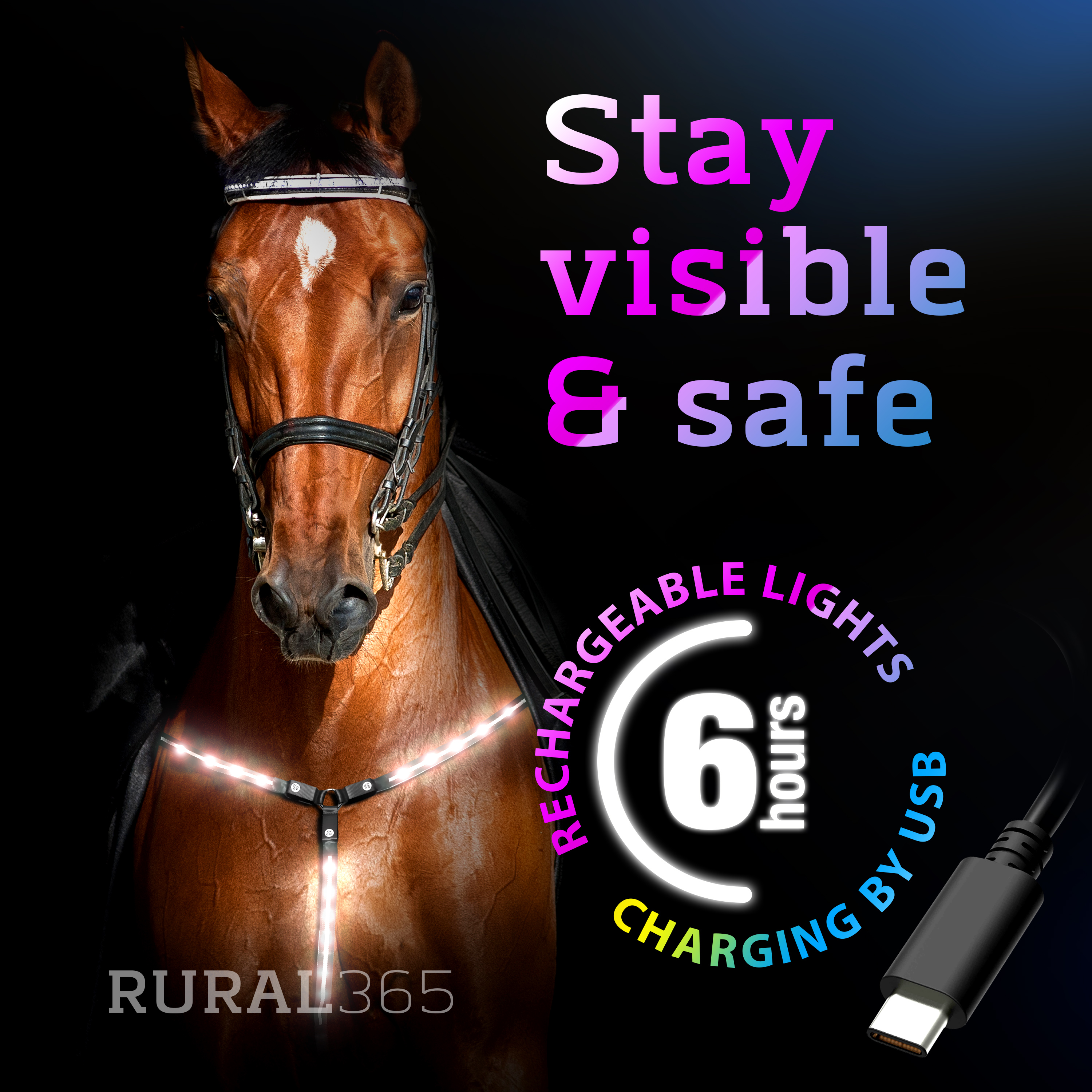 Rural365LED Horse Breastplate Collar LED Horse Tack Breast Collar