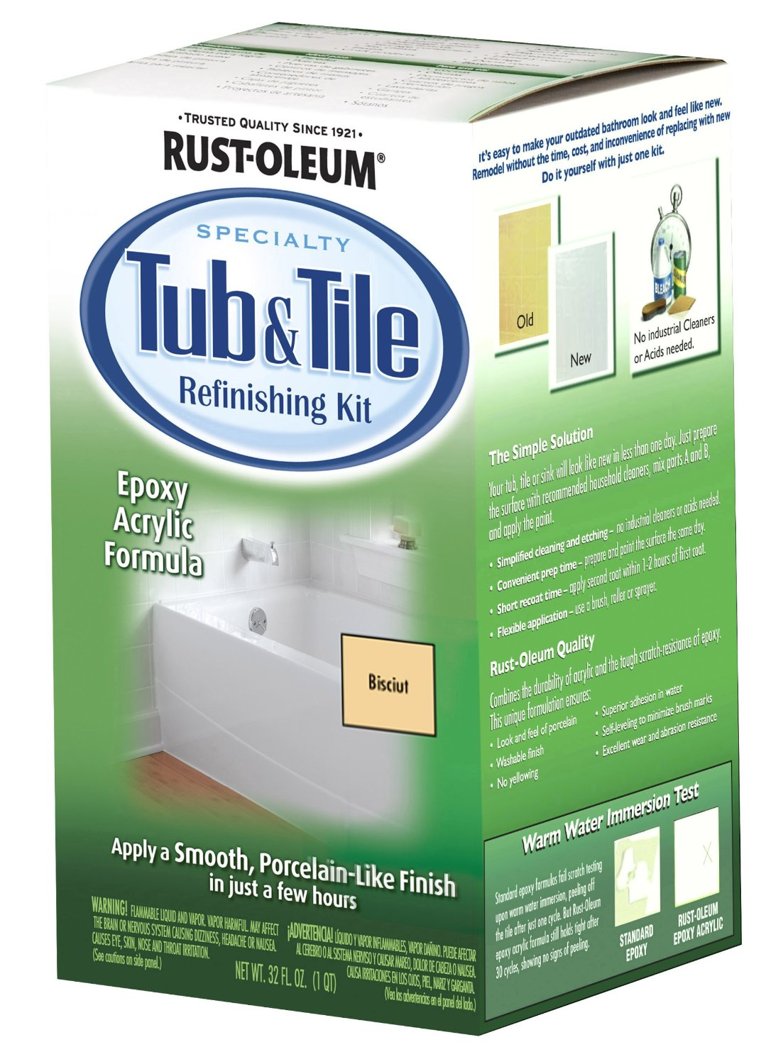 Rust-Oleum 7862519 Tub And Tile Refinishing 2-Part Kit, Biscuit ...