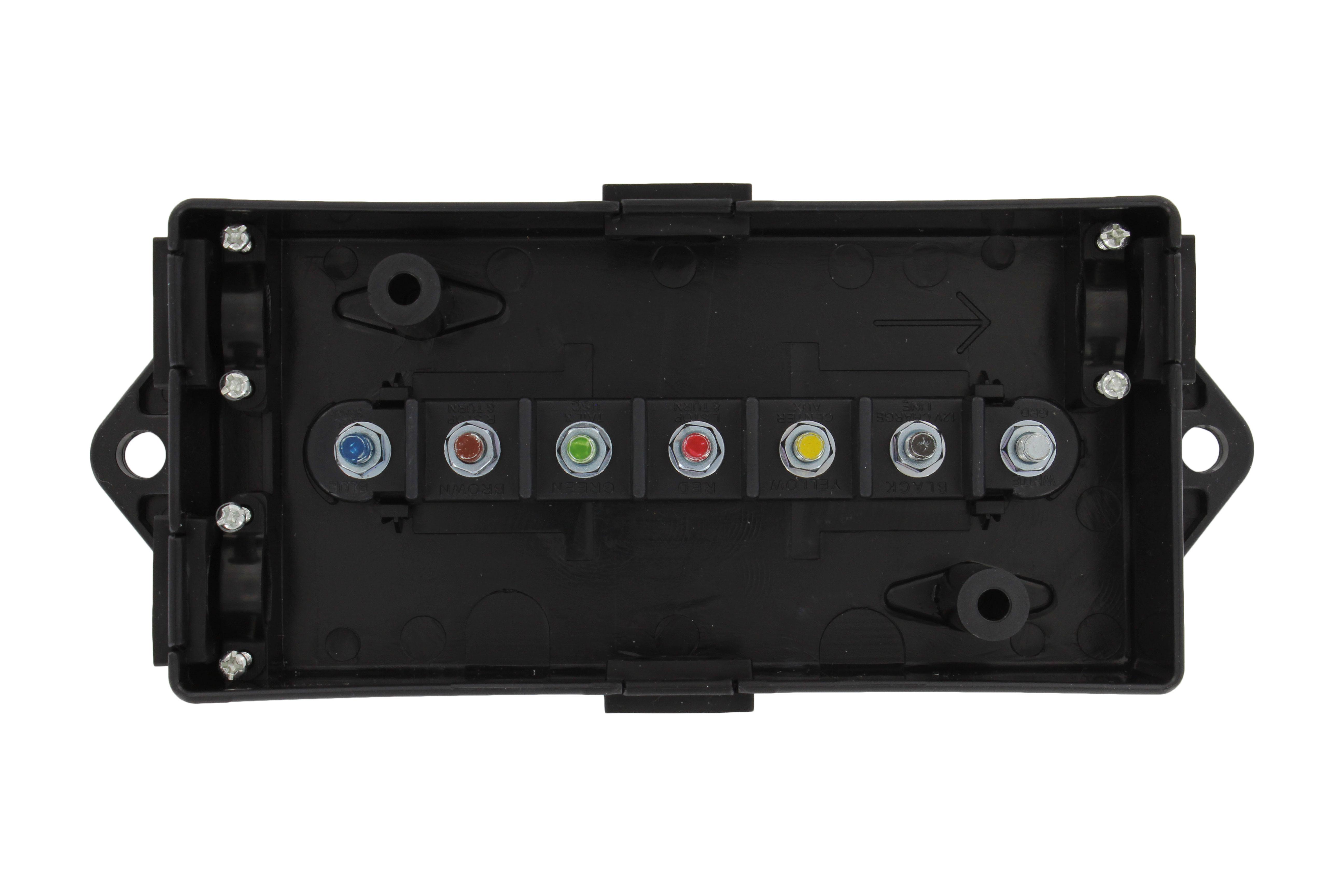 RVA1567 7-Way Heavy-Duty Trailer RV Truck Electrical Wire Connector Junction Box