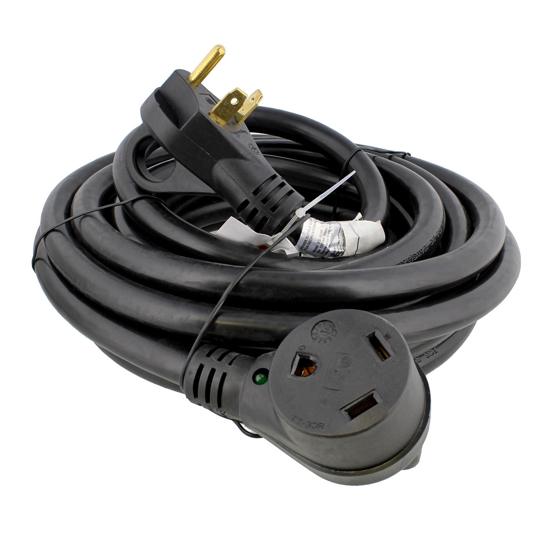 dumble 30 amp rv power cord w indicator light camper extension cable ebay. Black Bedroom Furniture Sets. Home Design Ideas