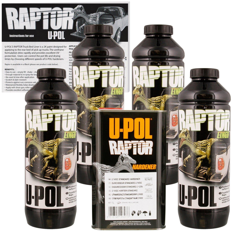 U Pol 0820 Raptor Black Truck Bed Liner Texture Coating 4 Liters