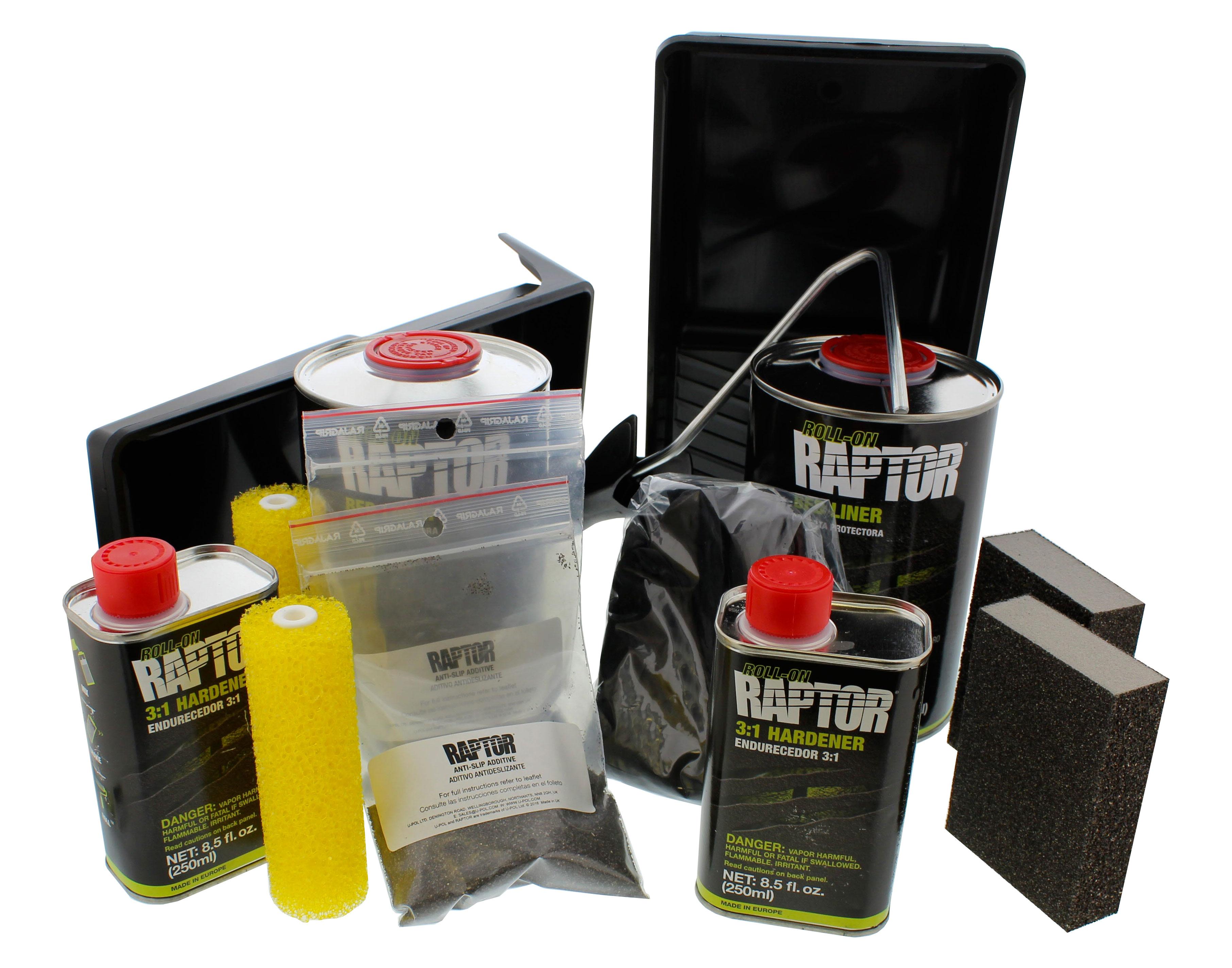 U Pol 5010 Raptor Black 2 Liter Urethane Roll On Truck Bed Liner Kit