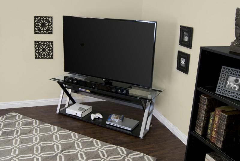 Studio Designs Colorado 56 Tv Stand Black Silver Clear Glass Ebay