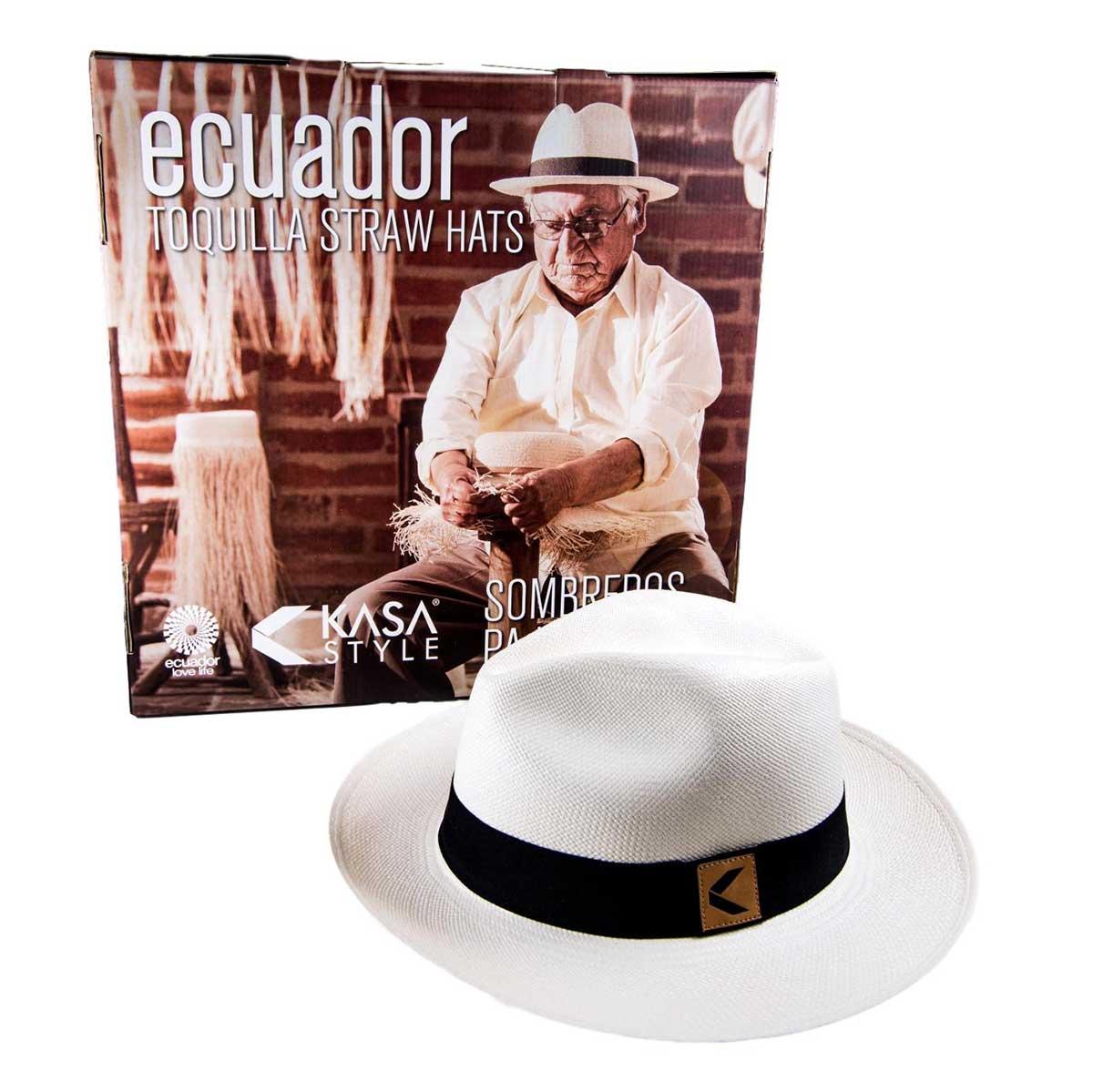 Handwoven in Ecuador Genuine Panama Hat made from Toquilla Straw White Teardrop Fedora Panama Hat