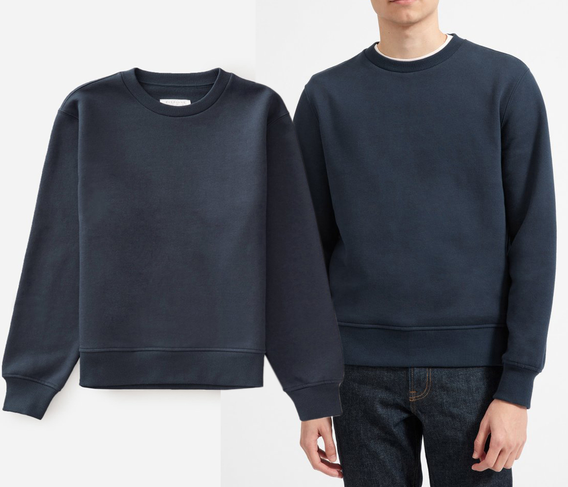 c0bb2cfed49d EVERLANE  100 NEW 3838 365 Fleece Crew Warm Sweatshirt Mens Sweater Top XXS