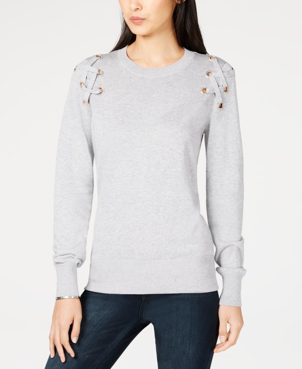 d288783cf04 MICHAEL KORS  88 NEW 24444 Lace-Up Sweater Womens Top L 192877195931 ...