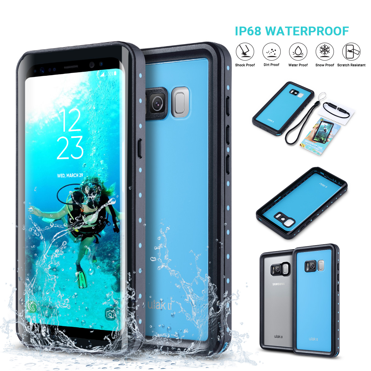 the latest 9bf8c 66a1a Details about ULAK Waterproof Shockproof Heavy Duty Hard Case Cover for  Samsung Galaxy S8/S8+