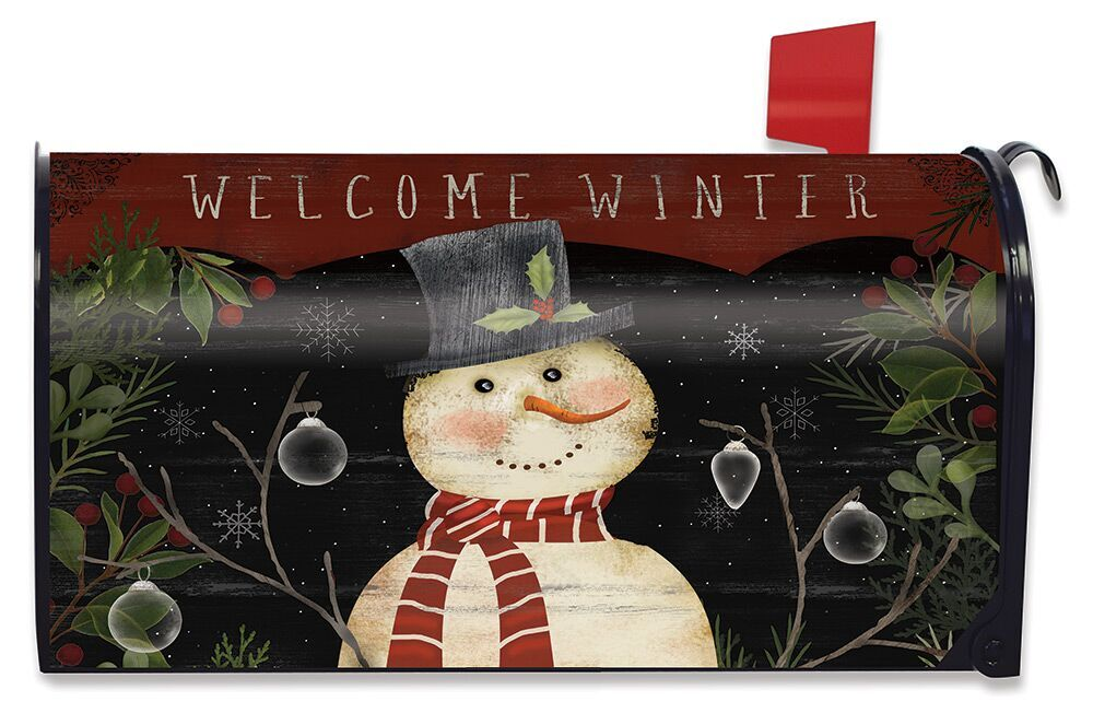 Celebrate Winter Snowman Large Mailbox Cover Primitive Oversized