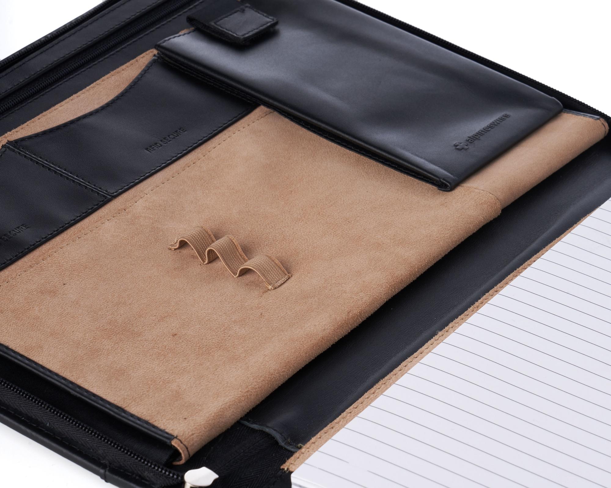 thumbnail 45 - Alpine Swiss Leather Zippered Writing Pad Portfolio Business Briefcase Organizer