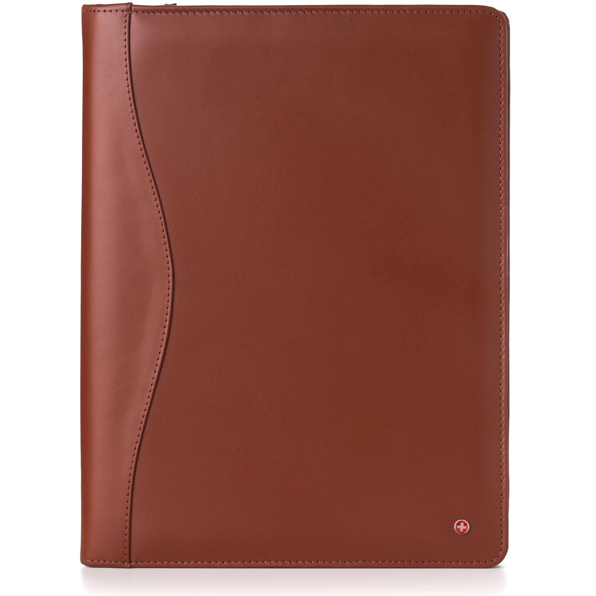 thumbnail 48 - Alpine Swiss Leather Zippered Writing Pad Portfolio Business Briefcase Organizer