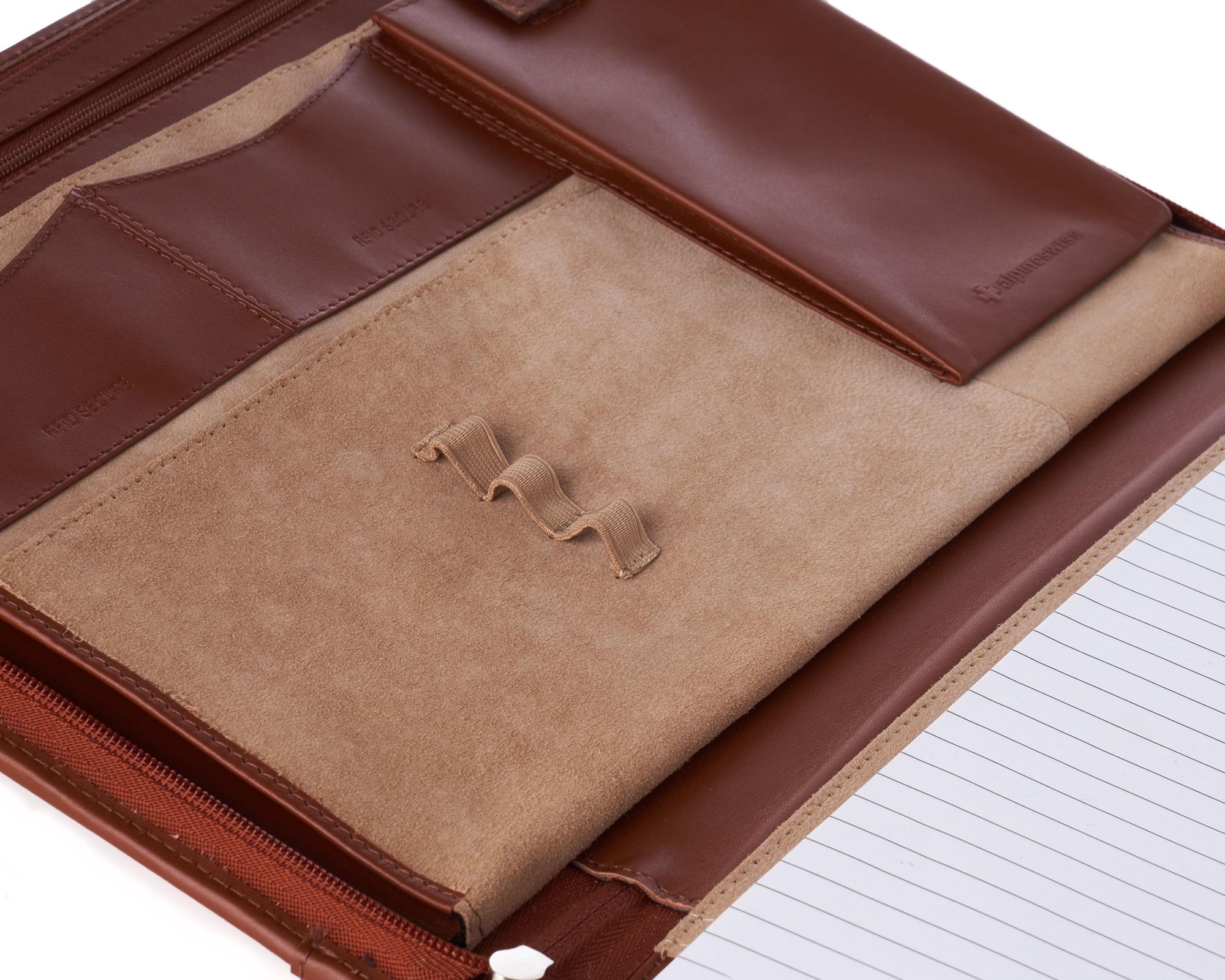 thumbnail 49 - Alpine Swiss Leather Zippered Writing Pad Portfolio Business Briefcase Organizer