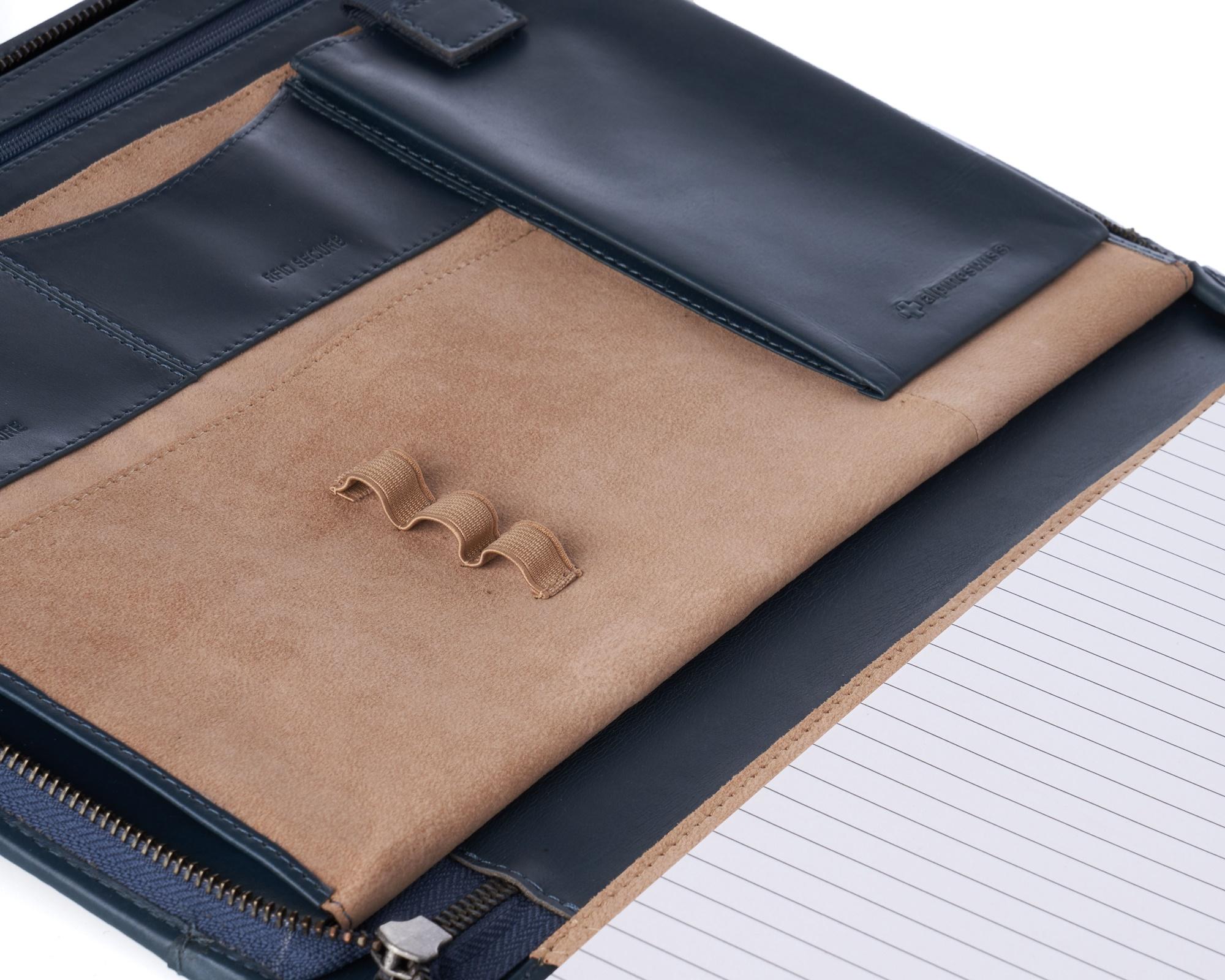 thumbnail 33 - Alpine Swiss Leather Zippered Writing Pad Portfolio Business Briefcase Organizer