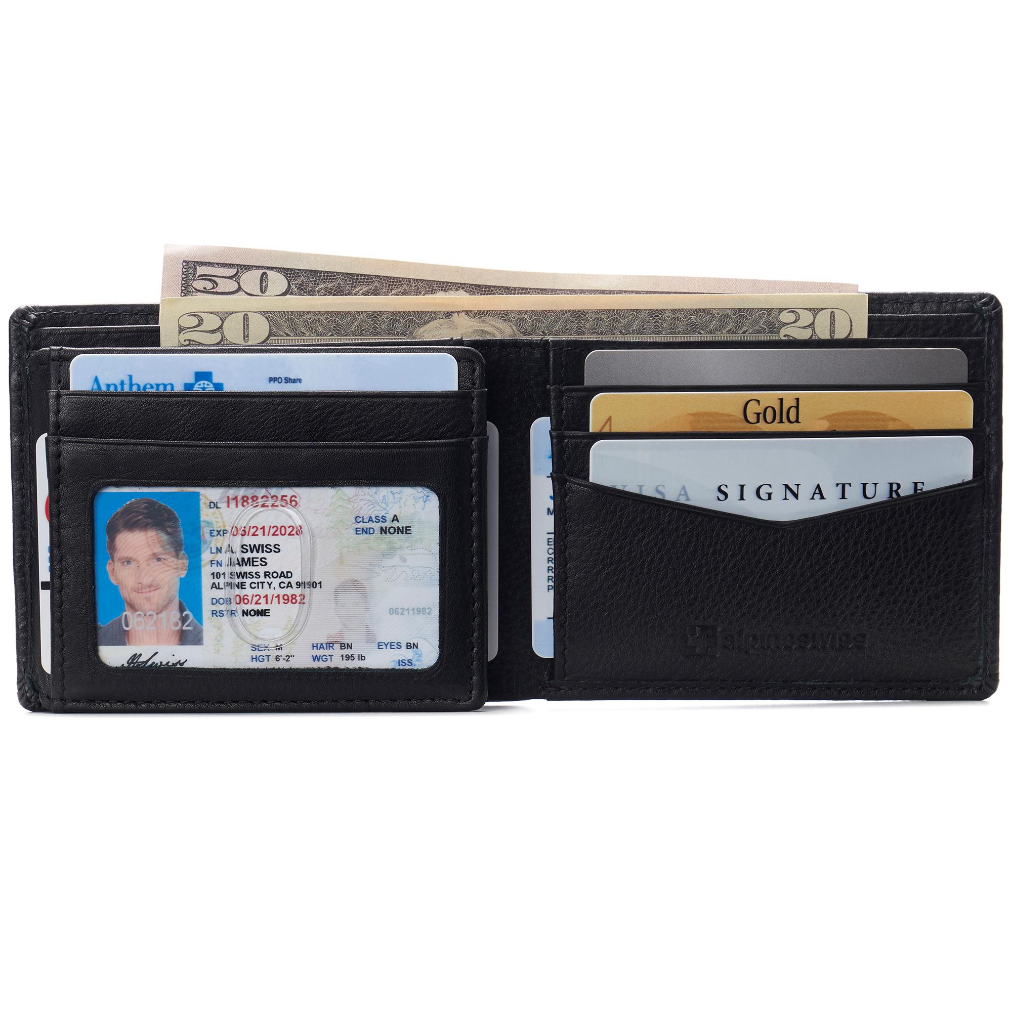 Alpine Swiss Mens Leather RFID Bifold Wallet 2 ID Windows Divided Bill Section