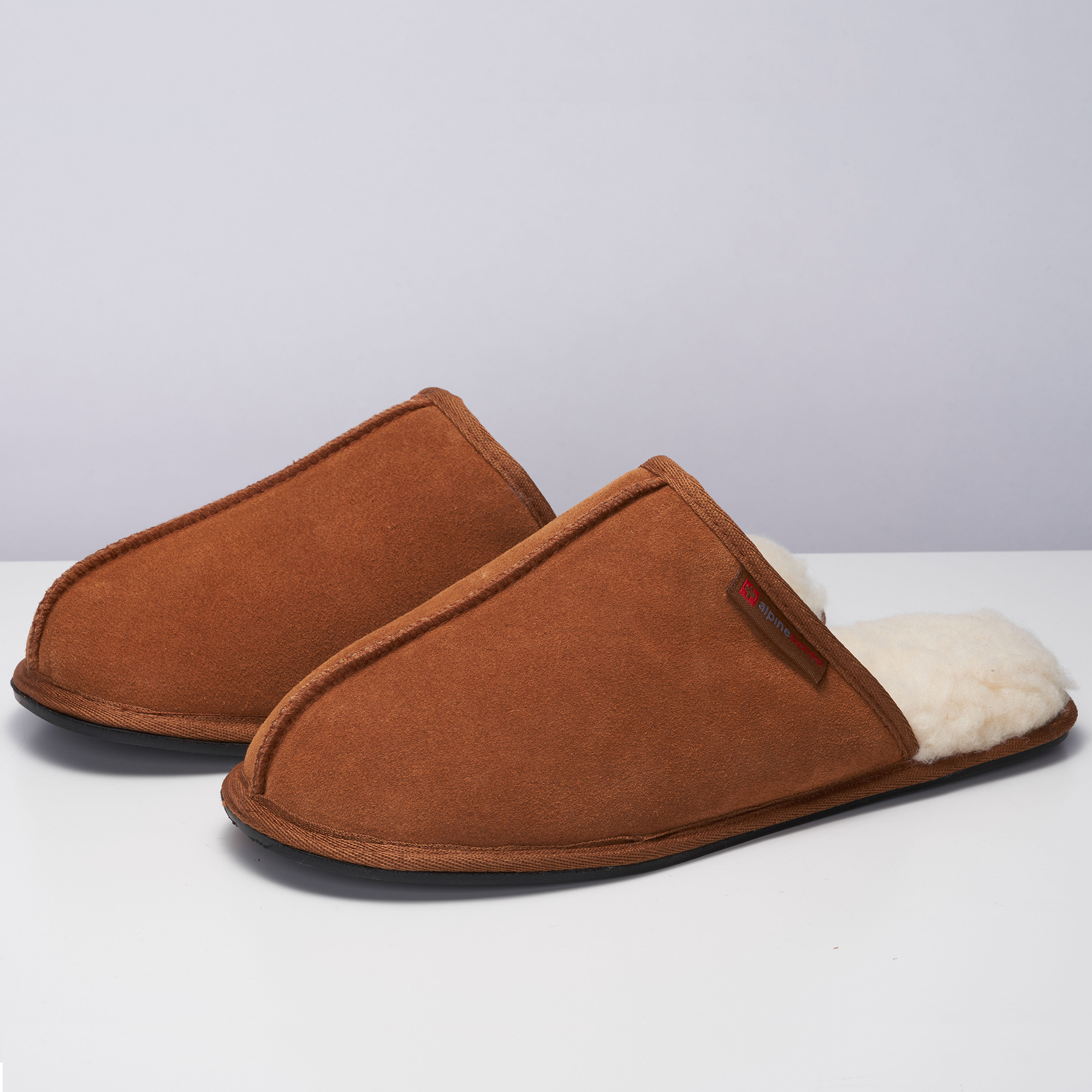 Alpine-Swiss-Mens-Suede-Memory-Foam-Scuff-Slippers-Comfort-Slip-On-House-Shoes thumbnail 23