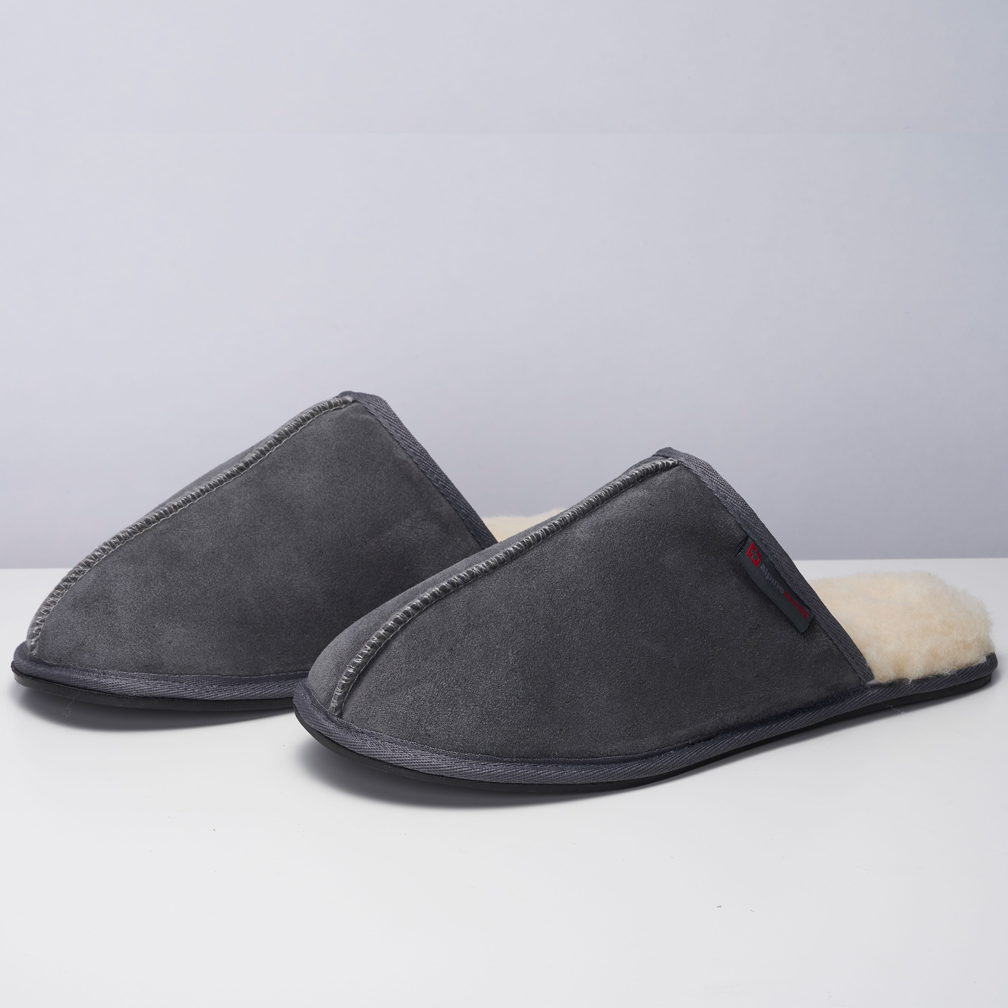 Alpine-Swiss-Mens-Suede-Memory-Foam-Scuff-Slippers-Comfort-Slip-On-House-Shoes thumbnail 29