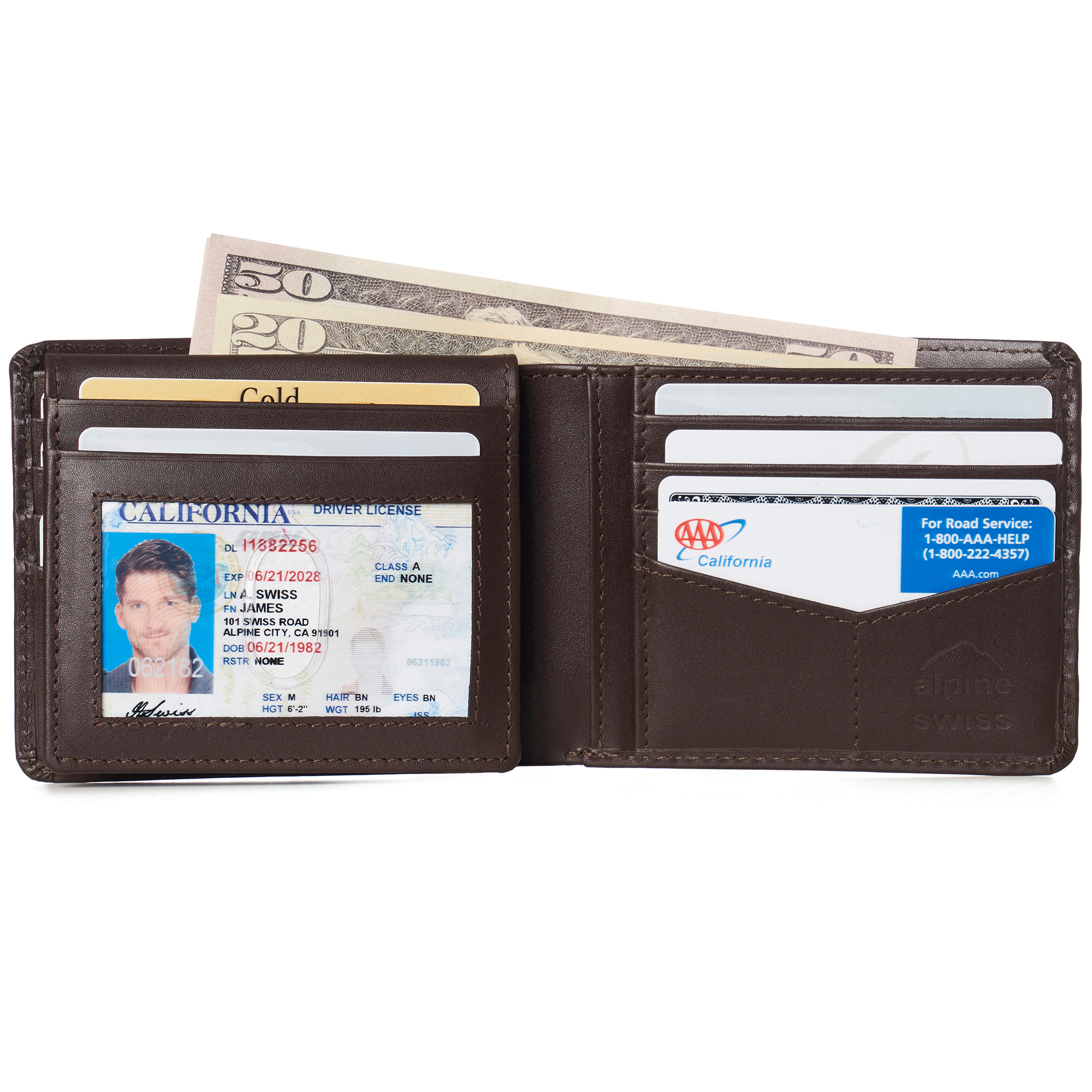 miniature 68 - Alpine-Swiss-RFID-Mens-Wallet-Deluxe-Capacity-Passcase-Bifold-Two-Bill-Sections