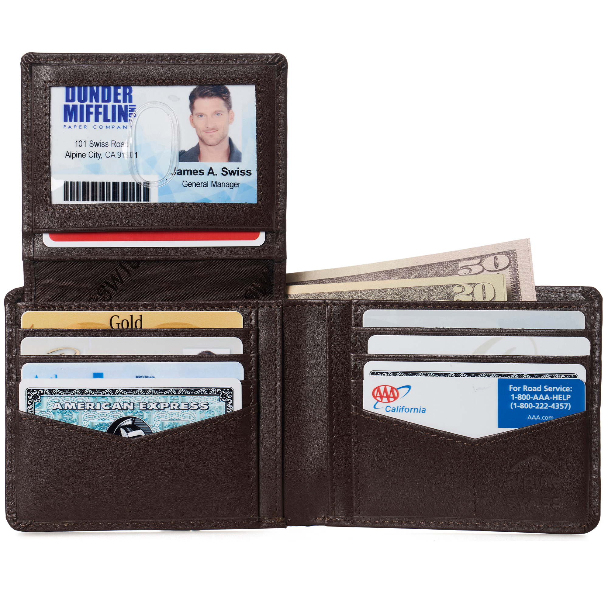 miniature 67 - Alpine-Swiss-RFID-Mens-Wallet-Deluxe-Capacity-Passcase-Bifold-Two-Bill-Sections