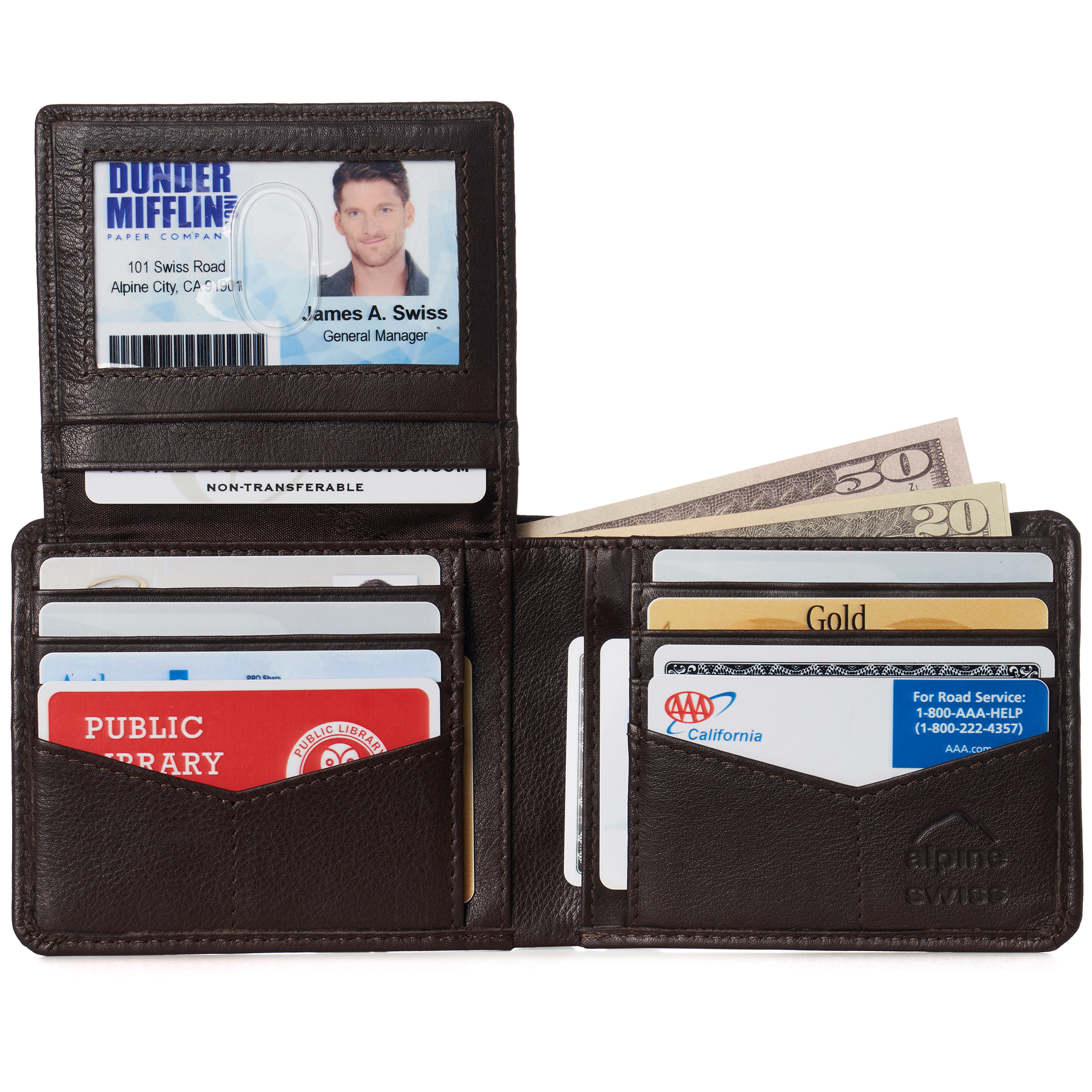 miniature 98 - Alpine-Swiss-RFID-Mens-Wallet-Deluxe-Capacity-Passcase-Bifold-Two-Bill-Sections