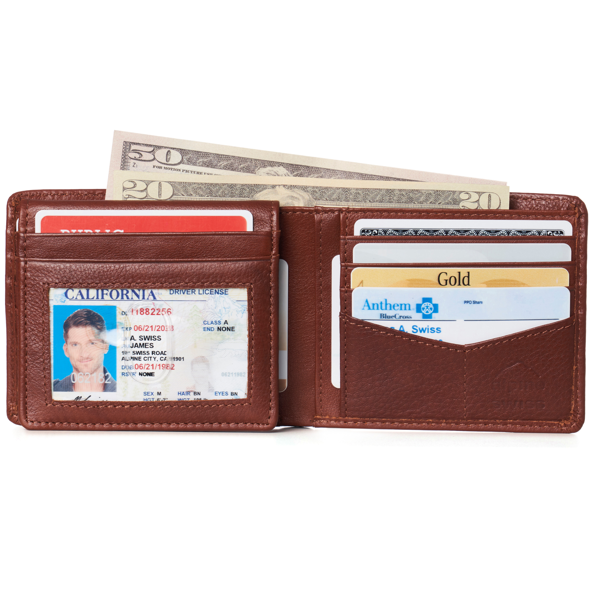miniature 119 - Alpine-Swiss-RFID-Mens-Wallet-Deluxe-Capacity-Passcase-Bifold-Two-Bill-Sections