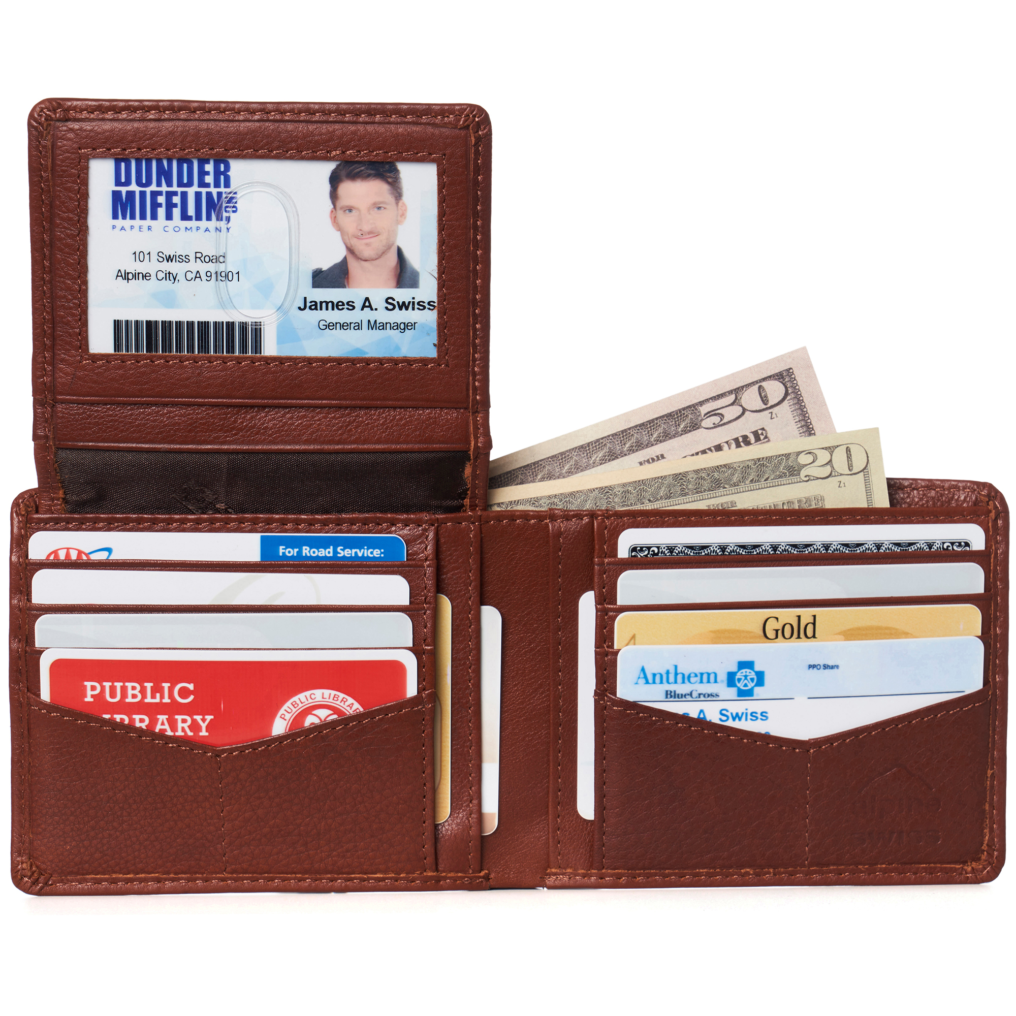 miniature 118 - Alpine-Swiss-RFID-Mens-Wallet-Deluxe-Capacity-Passcase-Bifold-Two-Bill-Sections