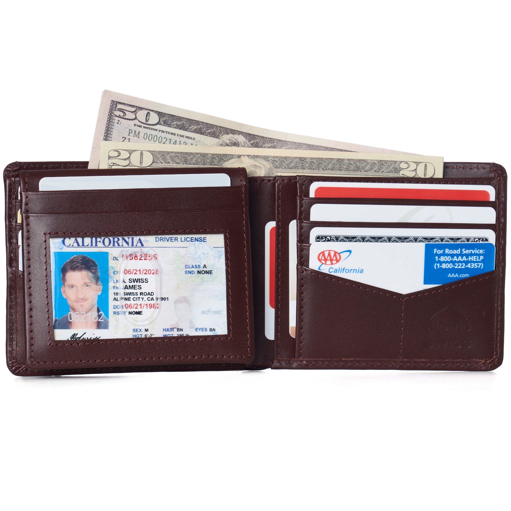 miniature 74 - Alpine-Swiss-RFID-Mens-Wallet-Deluxe-Capacity-Passcase-Bifold-Two-Bill-Sections