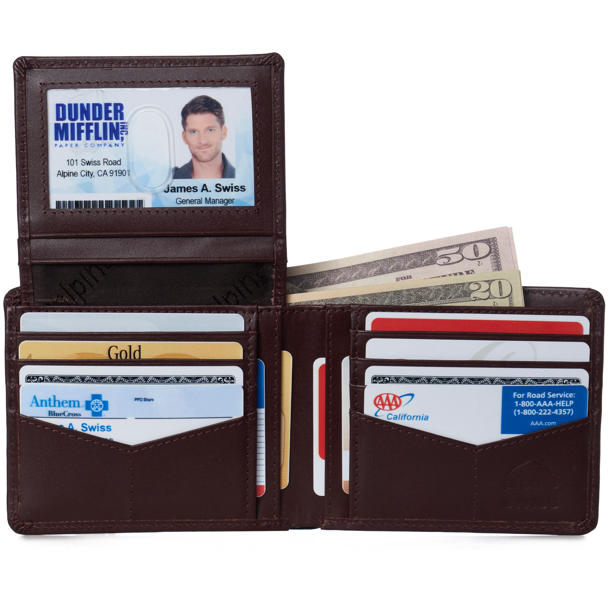 miniature 73 - Alpine-Swiss-RFID-Mens-Wallet-Deluxe-Capacity-Passcase-Bifold-Two-Bill-Sections