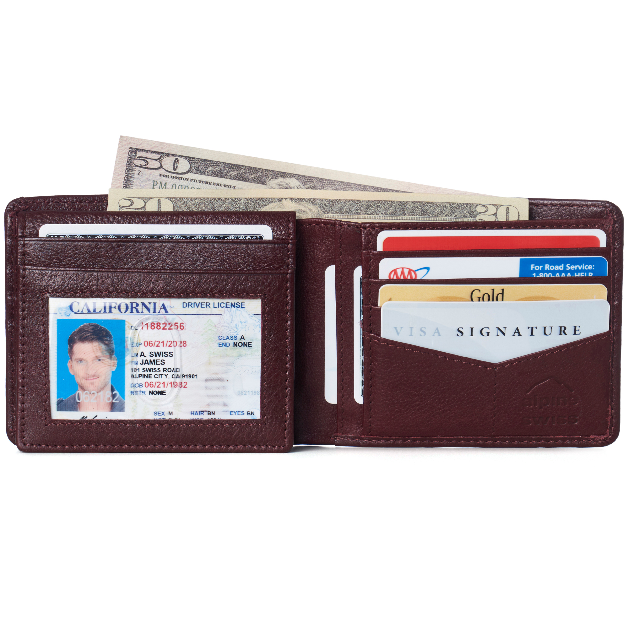 miniature 105 - Alpine-Swiss-RFID-Mens-Wallet-Deluxe-Capacity-Passcase-Bifold-Two-Bill-Sections