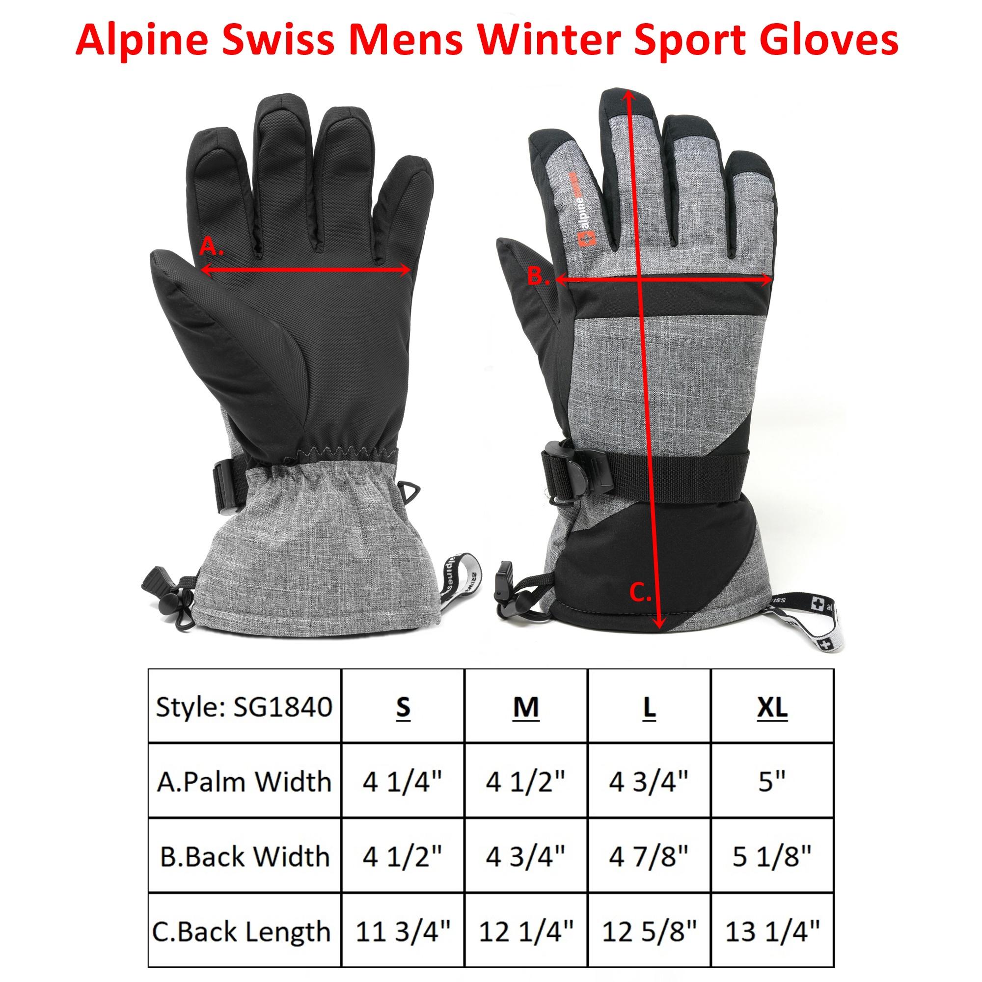 Alpine-Swiss-Mens-Waterproof-Ski-Gloves-Snowboarding-3M-Thinsulate-Winter-Gloves thumbnail 13