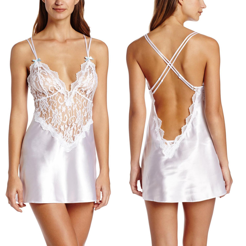 White Womens Satin Robes Bridal Bridesmaid Wedding Robe Silk Lace ...