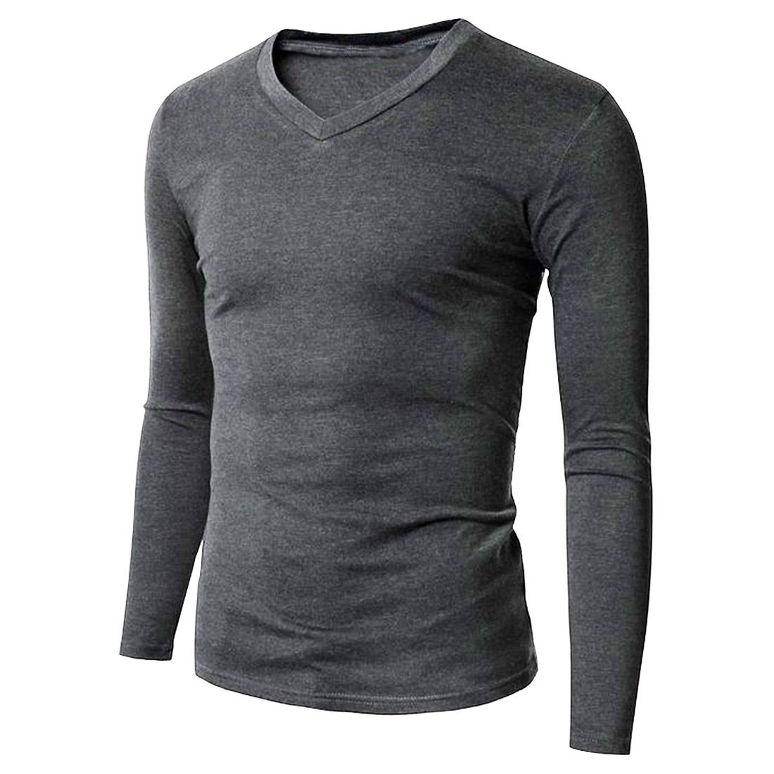 mens cotton basic tee shirts t shirt long sleeve v neck. Black Bedroom Furniture Sets. Home Design Ideas