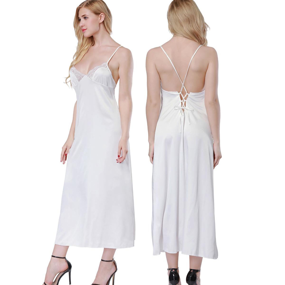 Womens Sleepwear V-neck Satin Nightgown Long Night Dress Full Length ...