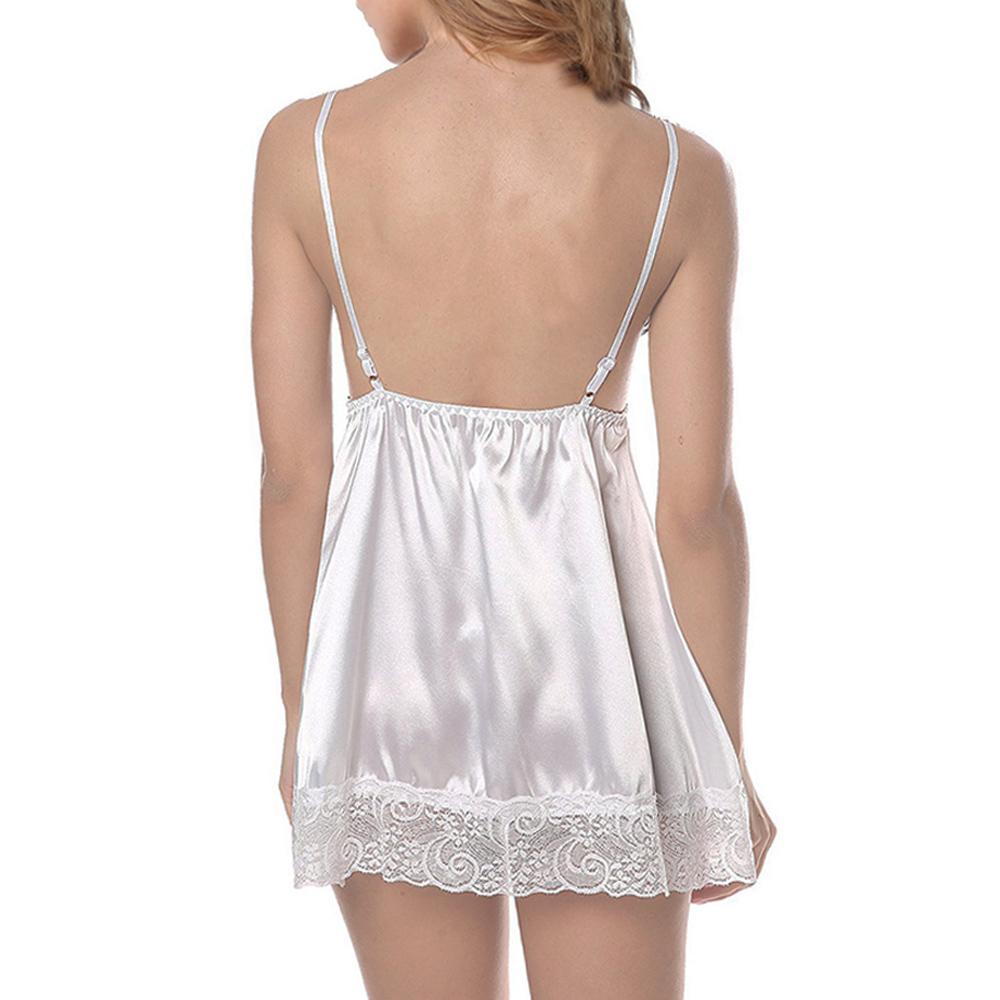 womens sleepwear white silk chemise night dress nightdress. Black Bedroom Furniture Sets. Home Design Ideas