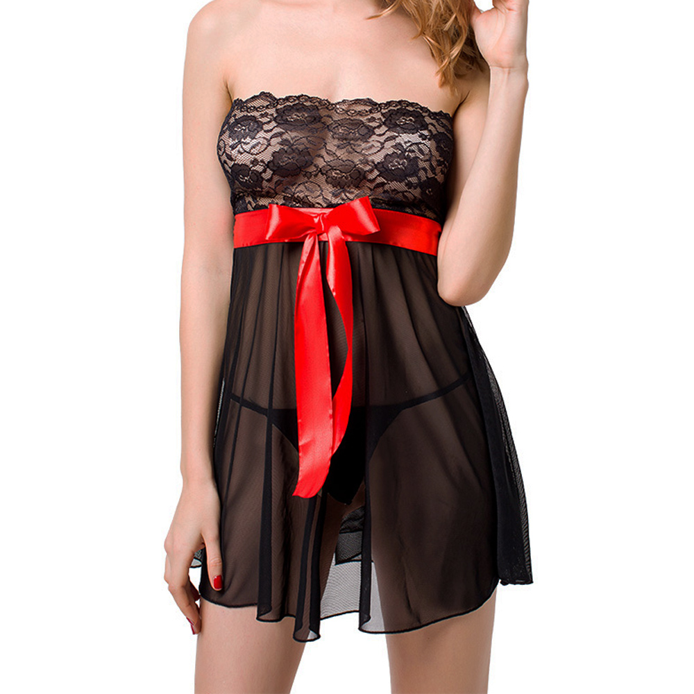 Womens Sexy Lingerie Babydoll Set Mesh and Lace Chemise ...