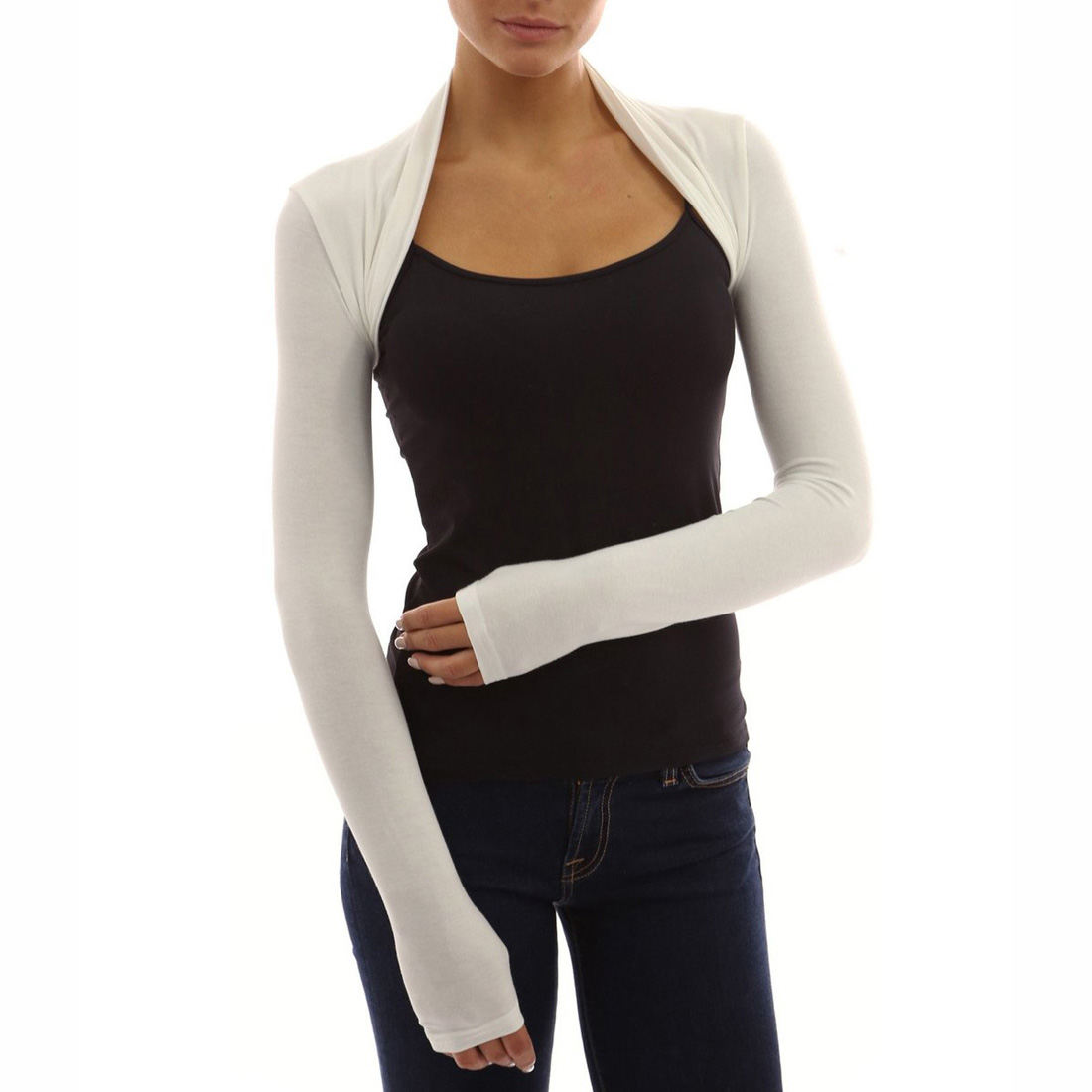 Womens Long Sleeve Bolero Shrug Knit Plain Cropped Cardigan Top ...