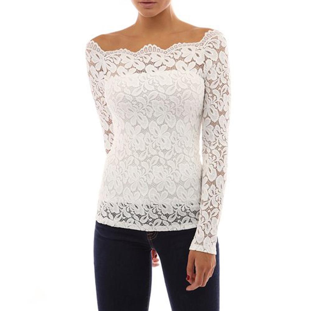 Womens Floral Lace Off Shoulder Top Blouse Shirt Summer ...
