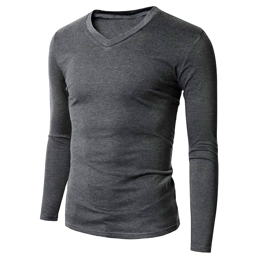 100% Cotton Mens Slim Basic Tee T-Shirt Long Sleeve V Neck Casual ...