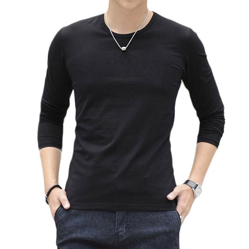 100 cotton mens long sleeve summer casual plain shirts t for Long sleeve cotton tee shirts