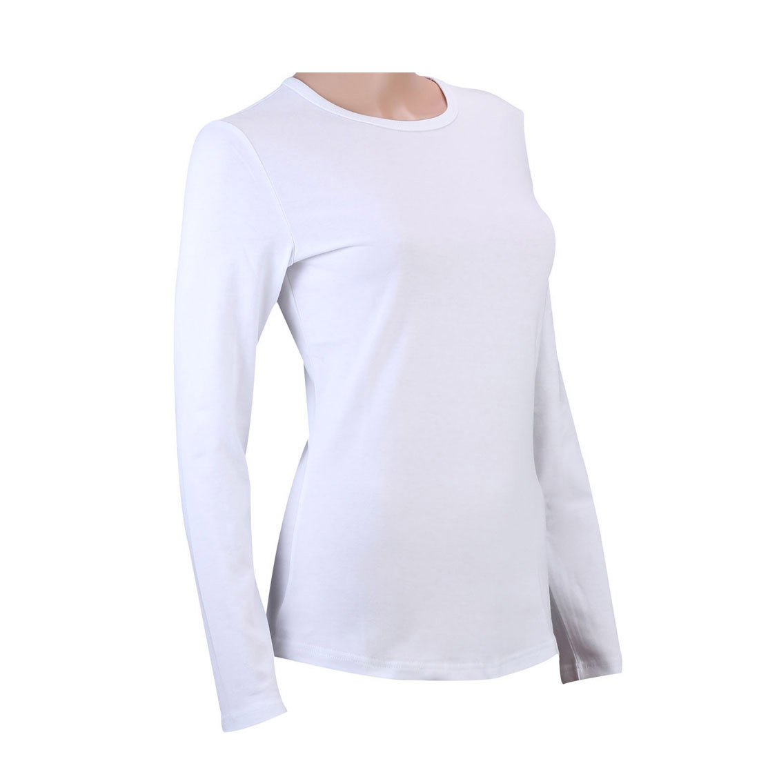 100% Cotton Womens V Neck Crew Neck Long Sleeve T-Shirt Plain ...