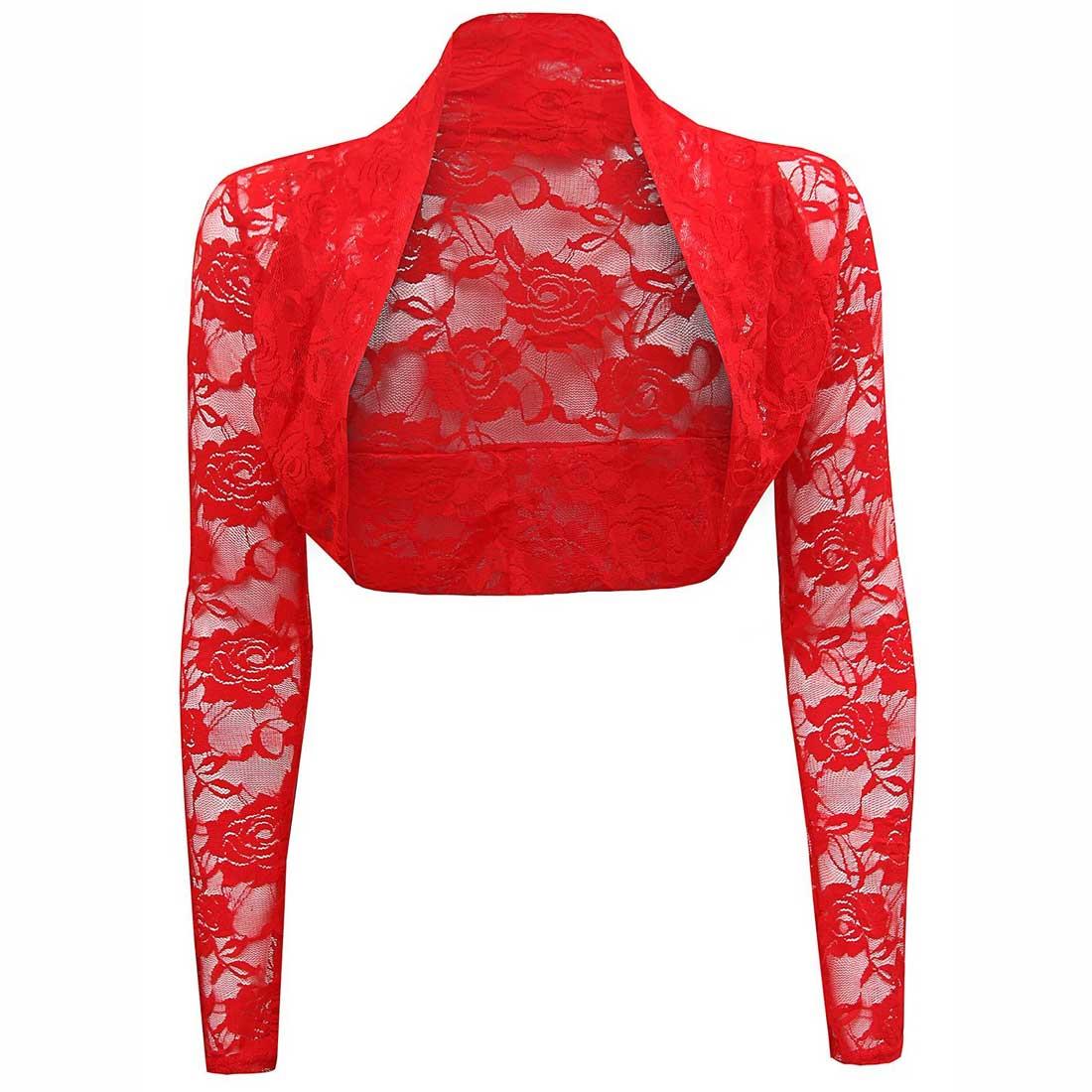 Womens Sheer Lace Shrug Bolero Long Sleeve Cropped Cardigan Top ...