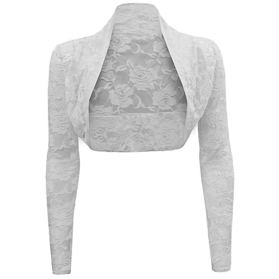 Womens Sheer Lace Shrug Bolero Long Sleeve Cropped Cardigan Top ...