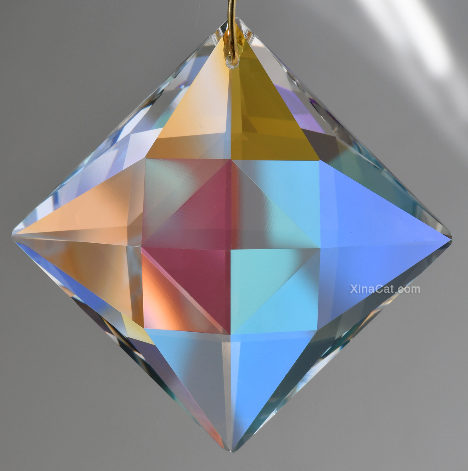 """Ruffled Scooped Pear Austrian Crystal Clear Prism Pendant SunCatcher 2"""""""