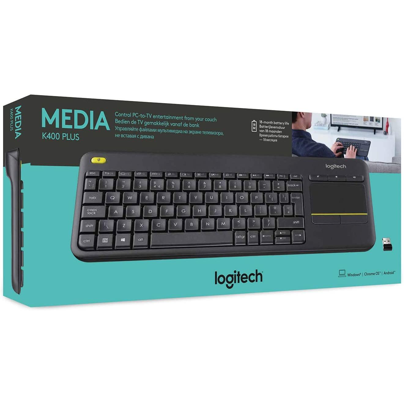 Logitech-K400-Plus-Wireless-Touch-HTPC-Keyboard-Media-Friendly-TV-All-Colours-VS thumbnail 4