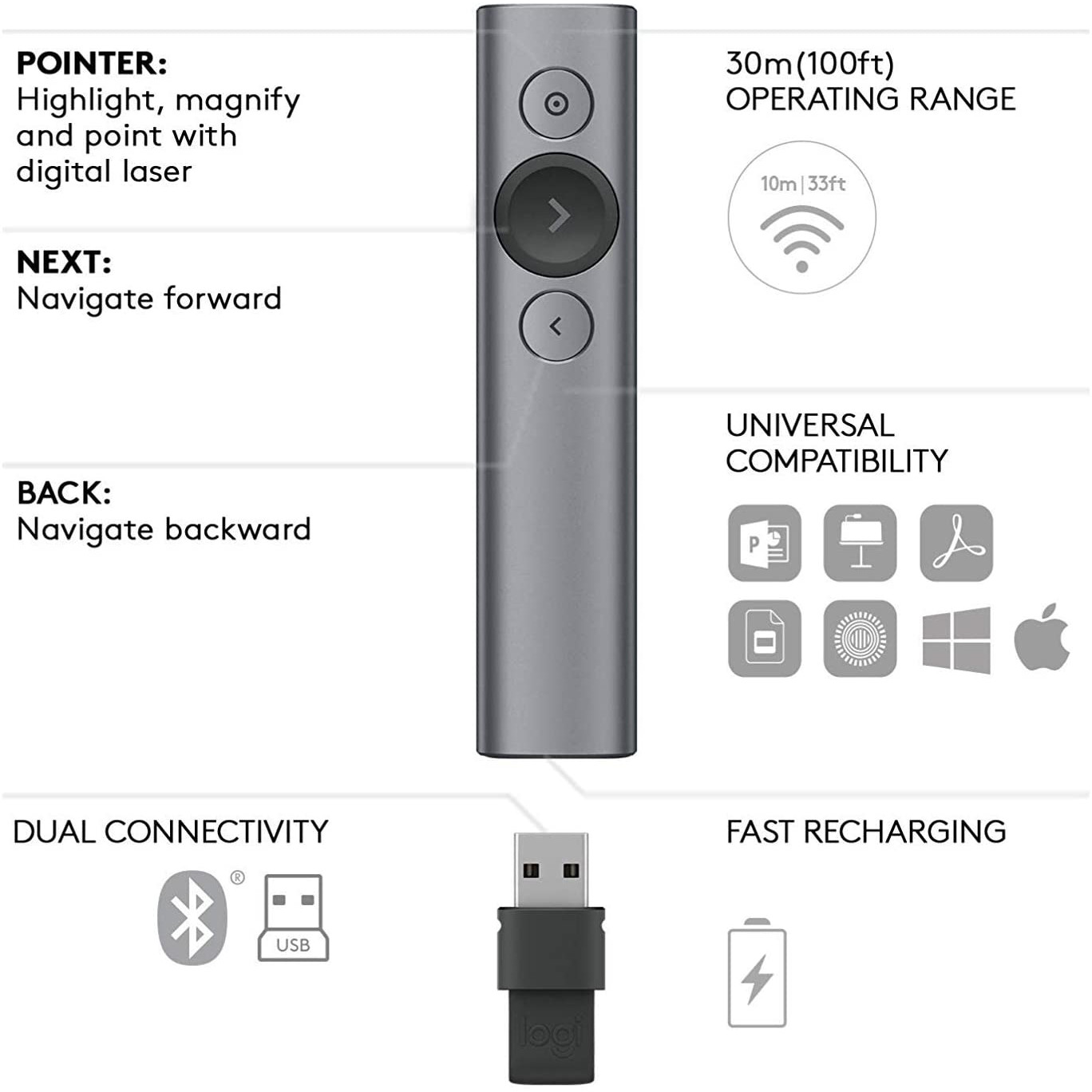 thumbnail 6 - Logitech-Spotlight-Wireless-Presentation-Remote-Universal-Compatibility-TS