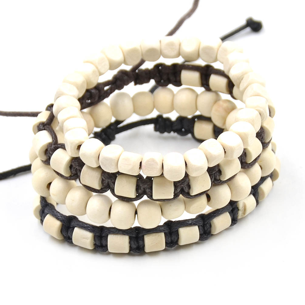 Women Men Handmade Wood Beaded Bracelet Multilayer Wax ...