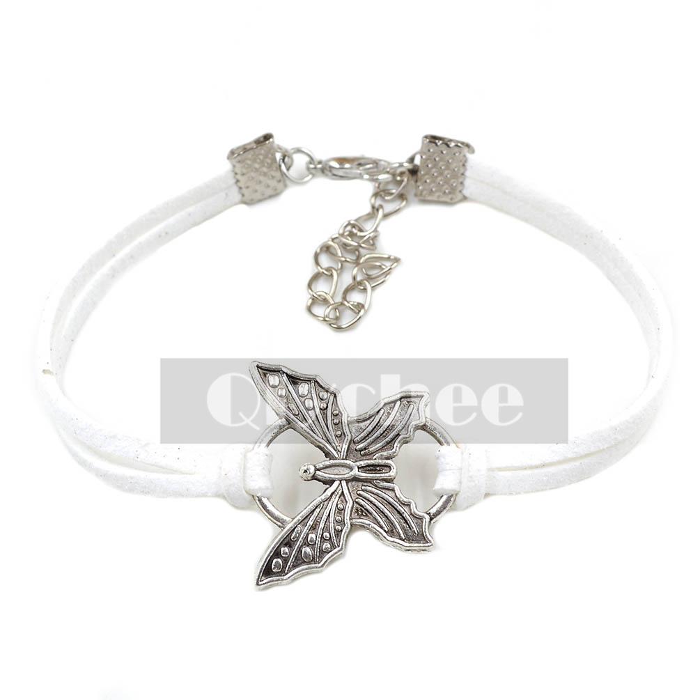 Women Girl Fashion Butterfly Bracelet Black White Purple ...