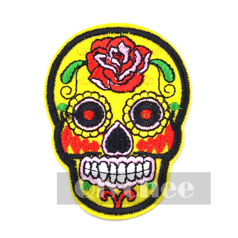 Sugar Skull Flower Iron On Applique Embroidered Patch DIY ...