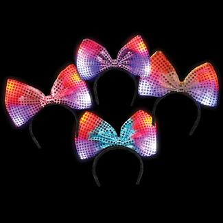 100 Led Flashing Multicolored Light Up Bow Headbands