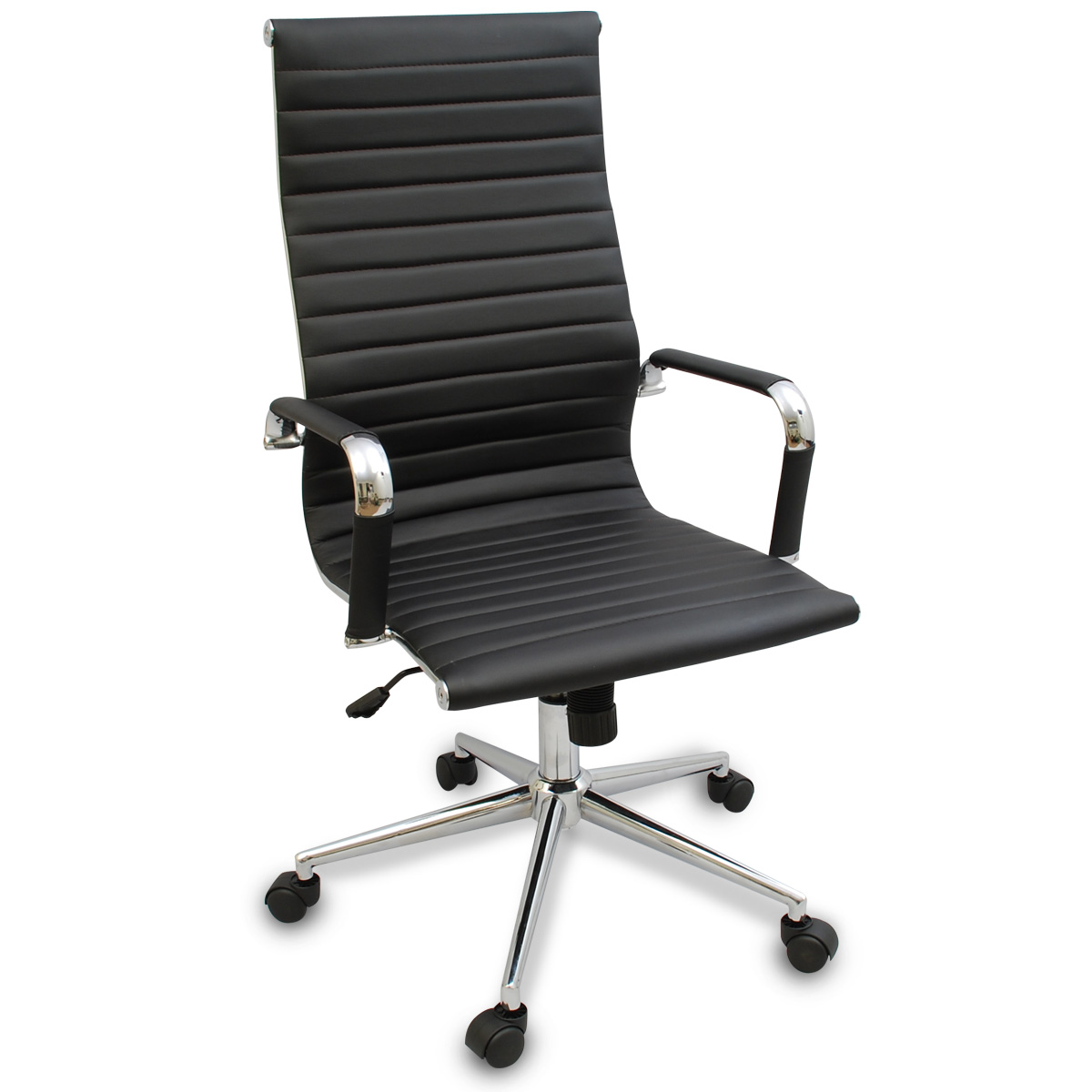 modern desk chair new black modern ergonomic ribbed high back executive 30253