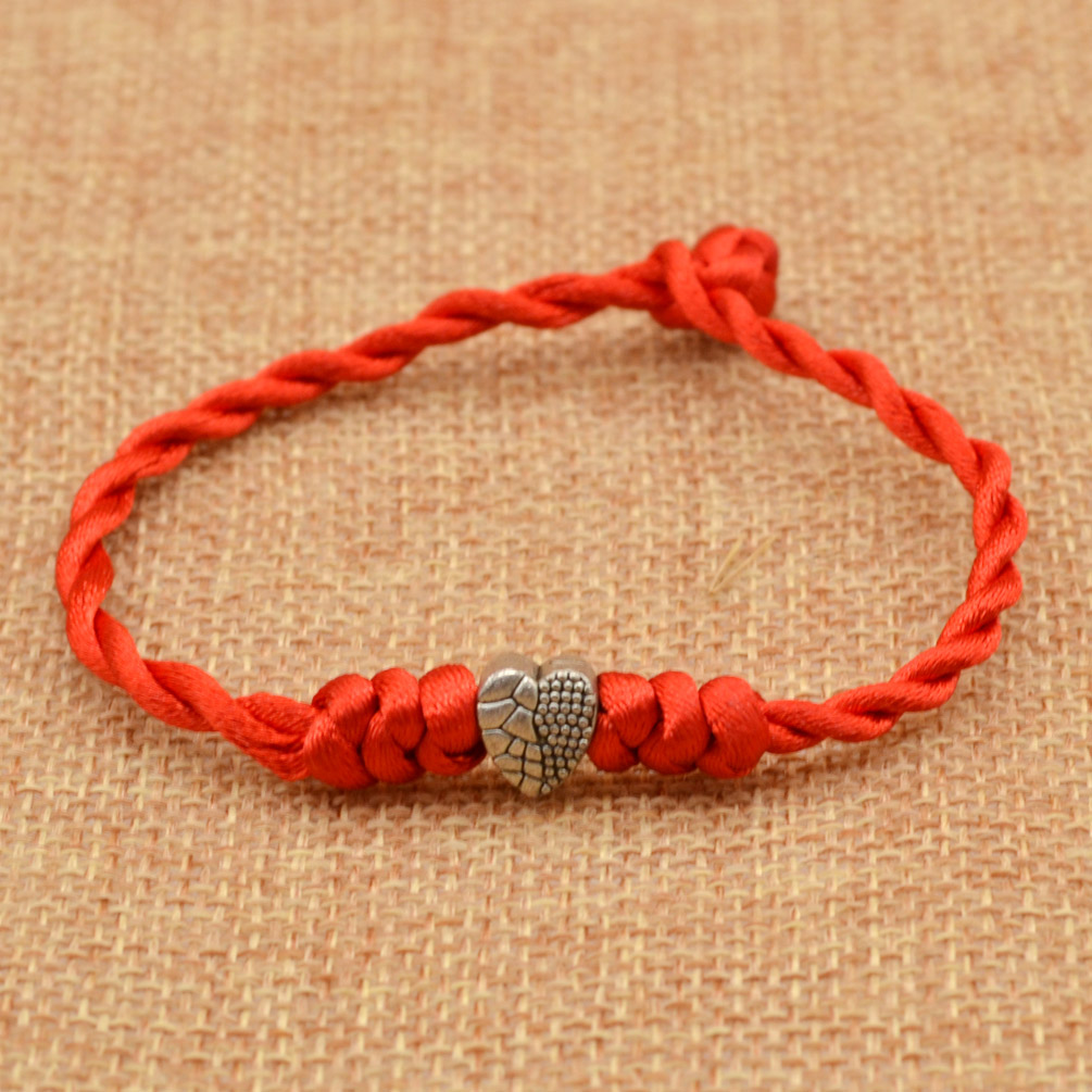 Hand Braided Red Lucky String Rope Cord Bracelet Handmade ...